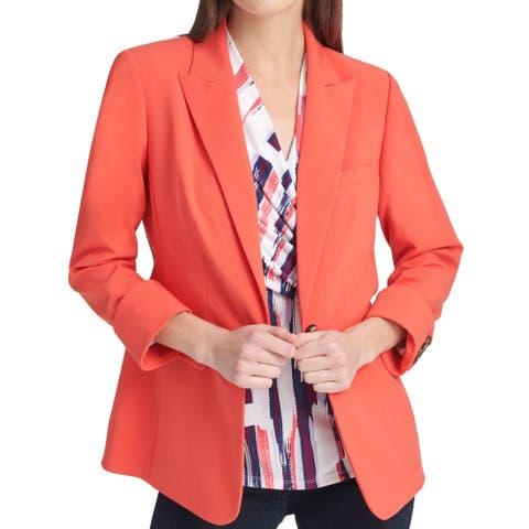 DKNY Womens Blazer Jacket Coral Pink Size 16 Peak-Lapel Cuff Sleeve