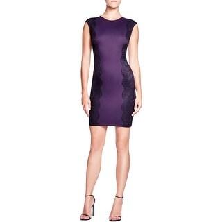 Aqua Womens Bodycon Dress Lace Trim Ponte