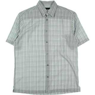 John Ashford Mens Micro-Lined Plaid Microfiber Button-Down Shirt - S