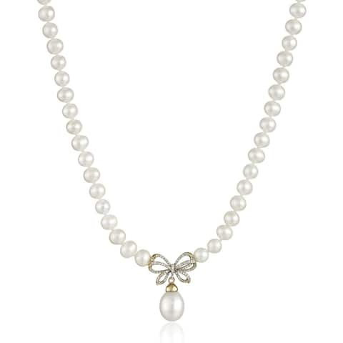 """Freshwater Pearl & 1/4 ct Diamond Bow Necklace in 10K Gold, 17"""""""