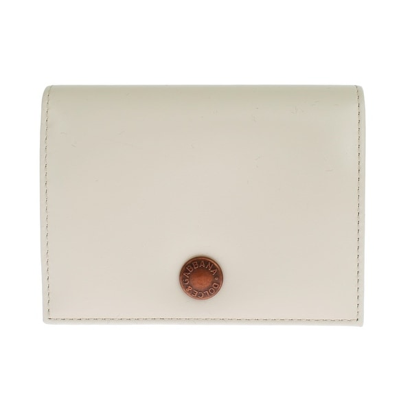 Dolce & Gabbana White Leather Bifold Card Wallet - One size