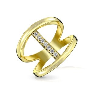 Bling Jewelry 925 Silver CZ Pave Modern Bar Double Band Ring Gold Plated