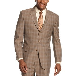 Sean John Mens 3 Button Sportcoat Blazer 36 Short 36S Brown Plaid Suit-Separates