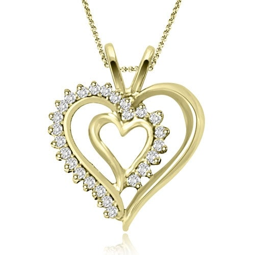 0.25 cttw. 14K Yellow Gold Round Cut Diamond Double Heart Shape Pendant