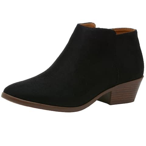 Mug Womens Low Stacked Heel Ankle Boots Block Heel Microsuede Round Toe Booties - Cognac