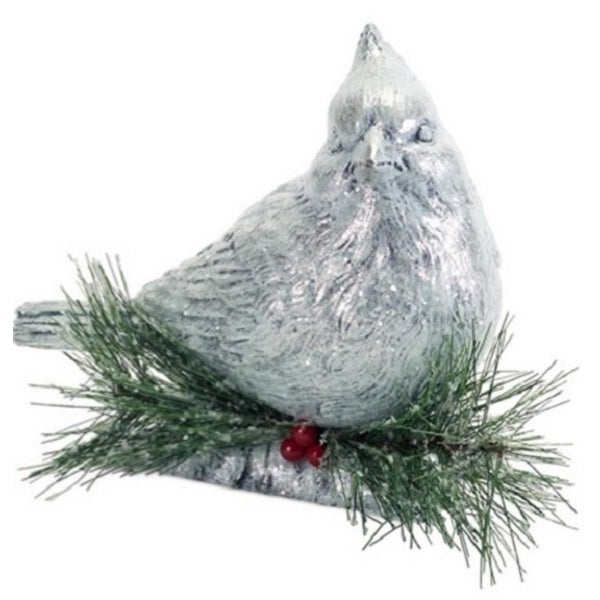 """8.75"""" Gray and Green Cardinal Perched on Log with Pine Cones/Berries Christmas Decoration"""