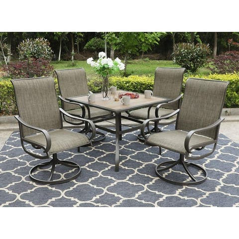 "MFSTUDIO 5-Piece Steel Patio Dining Swivel Chairs and Square Table Set, 37"" Square Wood-Like Table and 4 Dining Chairs"