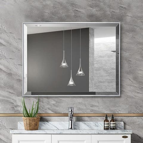 Silver Beveled Framed Wall Mirror