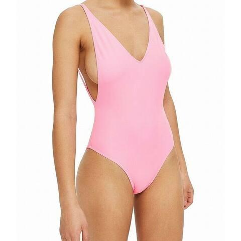 Topshop Women's Swimsuit Pink Size 4 V-Neck One-Piece Punge Swimwear