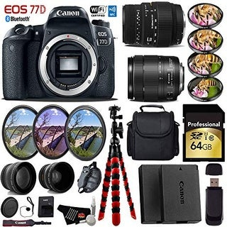 Canon EOS 77D DSLR Camera & 18-135mm is STM Lens & Sigma 70-300mm Lens + Tripod + Card Reader - Intl Model