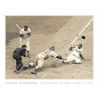 ''Jackie Robinson Stealing Home, May 18, 1952'' by Bettmann Archive African American Art Print (22 x 28 in.)