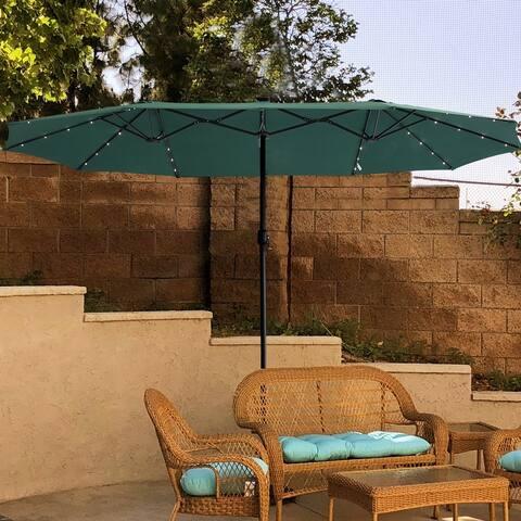 Watqen 15ft Double-Sided Outdoor Solar Led Lighted Market Umbrella