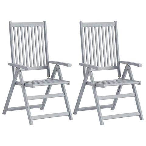 vidaXL Garden Reclining Chairs 2 pcs Gray Solid Acacia Wood