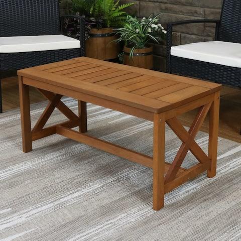 Sunnydaze Meranti Wood Outdoor Patio Coffee Table with Teak Oil Finish - 35-Inch