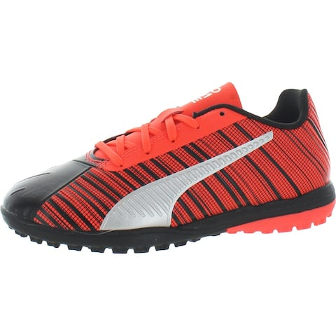 Puma Boys ONE 5.4 TT Jr Soccer Shoes Fitness Workout - Black/NRGY Red/Aged Silver