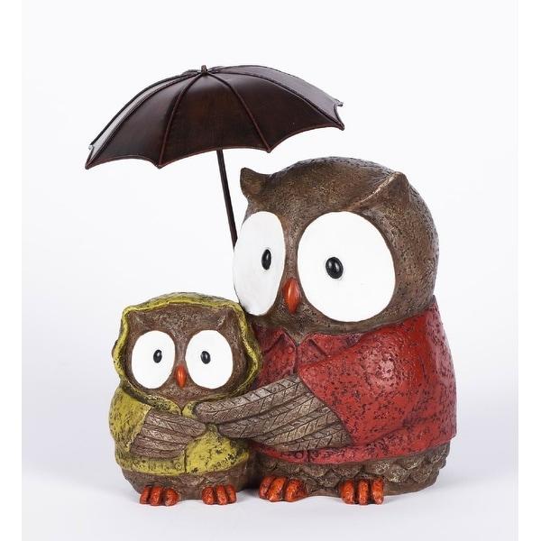 "10"" Mother and Baby Owl Under Umbrella Garden Statue - N/A"