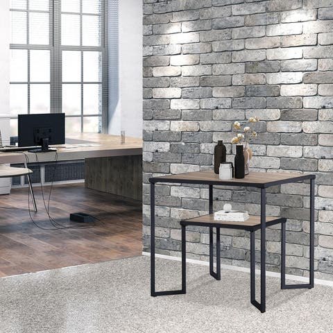 Dual Tier Coffee & Tea Small Square End Table