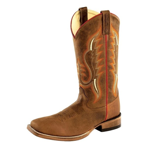 Old West Cowboy Boots Mens Square Stitching Brown Oily Copper