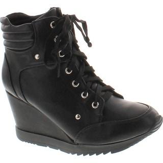 Top Wedge Sneaker Bootie Shoes - Black