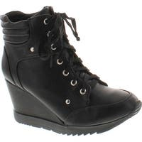 Forever Adriana11 Women Sporty Leatherette Lace-Up High Top Wedge Sneaker Bootie Shoes - Black