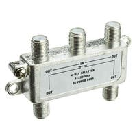 Offex F-pin Coaxial Splitter, 4 way, 2 GHz 90 dB, DC Passing on All Ports