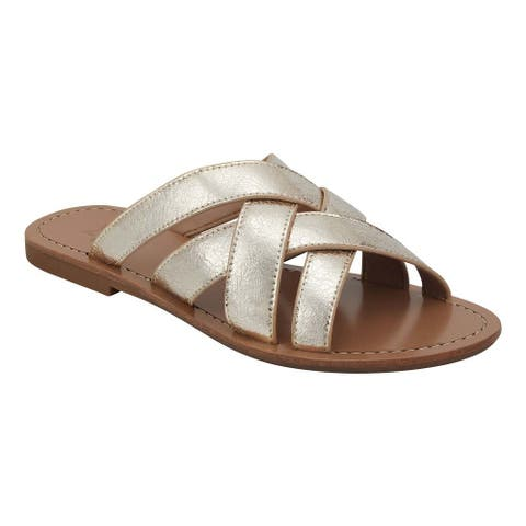 Marc Fisher LTD Women's Roony Flat Side Sandals, Gold Leather , 5.5