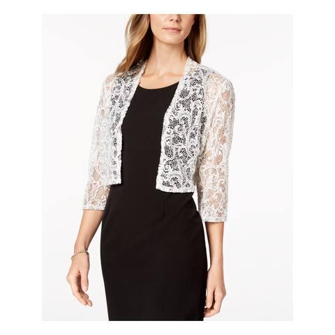 R&M RICHARDS Womens White Lace Shrug Cardigan 3/4 Sleeve Top Size: L