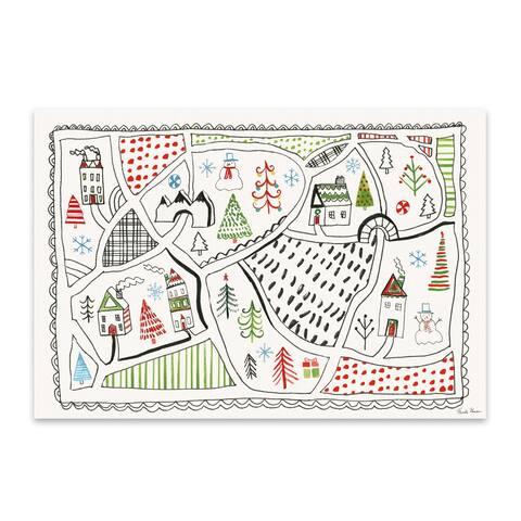 Holiday Houses Maps Nature Winter Metal Wall Art Print