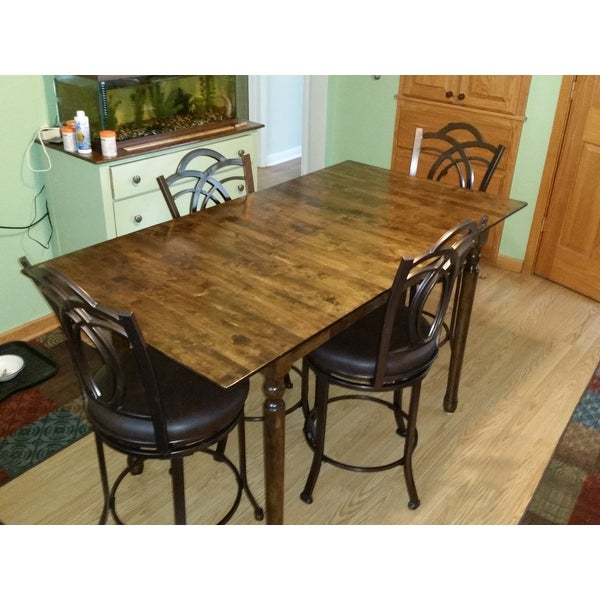 32 Inch Wide Unfinished Turned Style Parawood Counter Height Dining Table  With Butterfly Extension   Free Shipping Today   Overstock.com   16471576