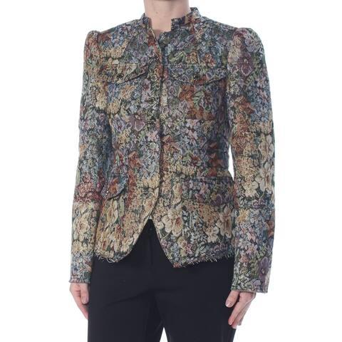 WILLIAM RAST Womens Gold Floral Blazer Party Jacket Size XS