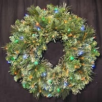 Christmas at Winterland WL-GWBM-02-L5M 24 Inch Pre-Lit Multicolor LED Blended Pine Wreath Indoor / Outdoor - N/A