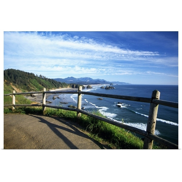 """""""View of coastline from trail, Ecola State Park, Oregon, united states, """" Poster Print"""