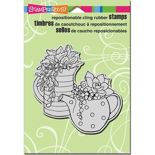 "Stampendous Cling Stamp 6.5""X4.5""-Potted Succulents - potted succulents"
