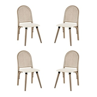 Link to Art-Leon Rattan Linen Fabric Cane Dining Side Chair with Bamboo Frame Similar Items in Dining Room & Bar Furniture
