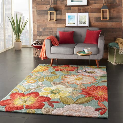 Nourison Fantasy Oversized Contemporary Floral Wildflowers Area Rug