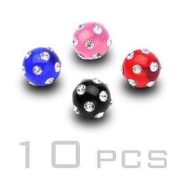 10 Piece Pack of Gem Paved UV Balls - 14GA (6mm Ball)