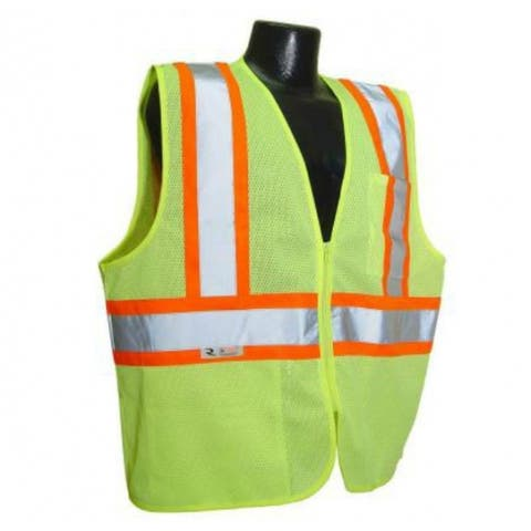 Radians SV22-2ZGM-L Class 2 Economy Mesh Safety Vest With Zipper, Large, Green