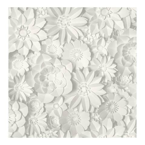 Dacre White Floral Wallpaper - 20.5 x 396 x 0.025