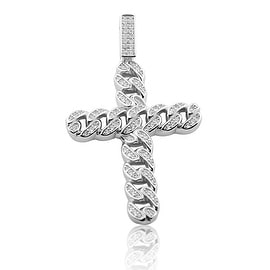 Sterling Silver Cross Charm Chain Cuban Style 49mm Tall