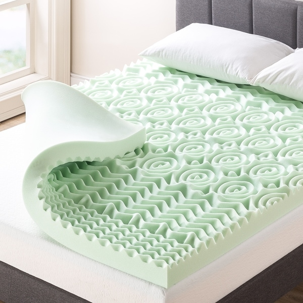 4 Inch 5-Zone Memory Foam Mattress Topper with Calming Green Tea Infusion