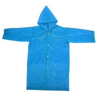 Girl EVA Rainwear Button Closure Raincoat Outdoor Rain Poncho Blue 40 x 85cm