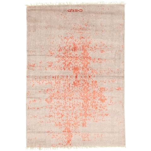 ECARPETGALLERY Hand-knotted La Seda Grey Silk, Wool Rug - 3'11 x 5'9
