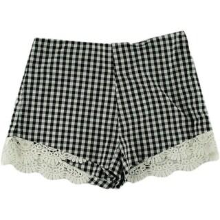 Aqua Womens Crochet Trim Plaid Casual Shorts