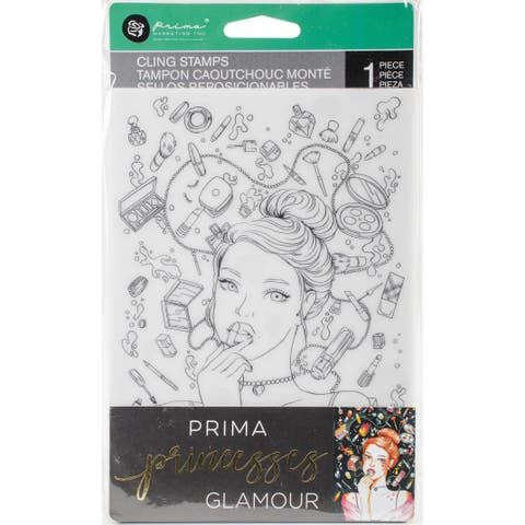 "Prima Princesses Cling Stamp 5""X7""-Glamour"