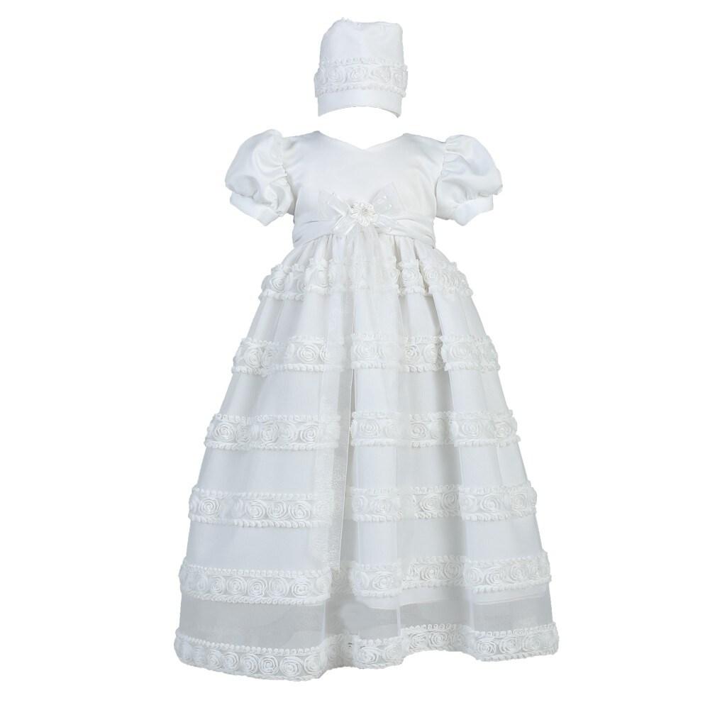 Lito Baby Girls White Embroidered Satin Ribbon Tulle Dress Bonnet Baptism 6-12M