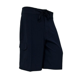 Mens Solid Color Tie Front 4-Way Stretch Comfort Board Shorts (Option: 40)