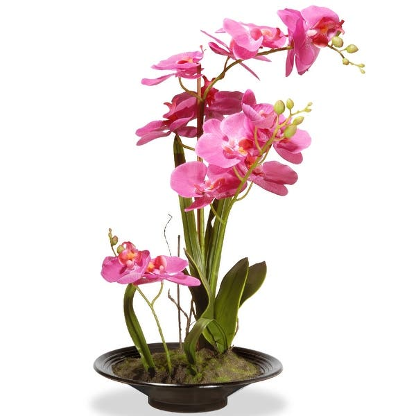 Shop 17 Potted Artificial Pink Orchid Flowers On Sale