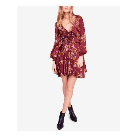 FREE PEOPLE Burgundy Long Sleeve Mini A-Line Dress Size 2