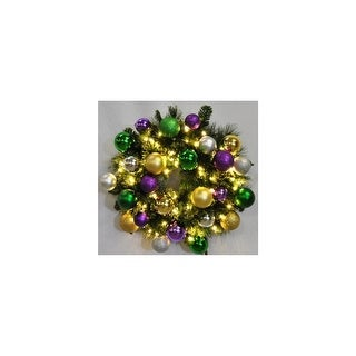 Christmas at Winterland WL-GWSQ-02-MARDI-LWW 2 Foot Pre-Lit Warm White Sequoia Wreath Decorated with Mardi Gras Ornaments Indoor