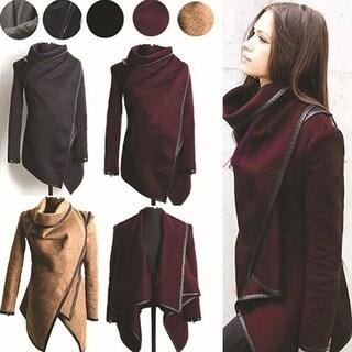 Women's Autumn Winter Elegant Irregular Design Long Sleeve Trench Coat Overcoat